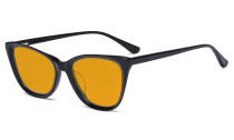 Acetate Frame Oversize Butterfly Design Blue Light Blocking Glasses - Anti Glare UV Rays Computer Screen Eyegalsses Women - Cut Digital Glare with Orange Tinted Filter Lens - Black BC1902