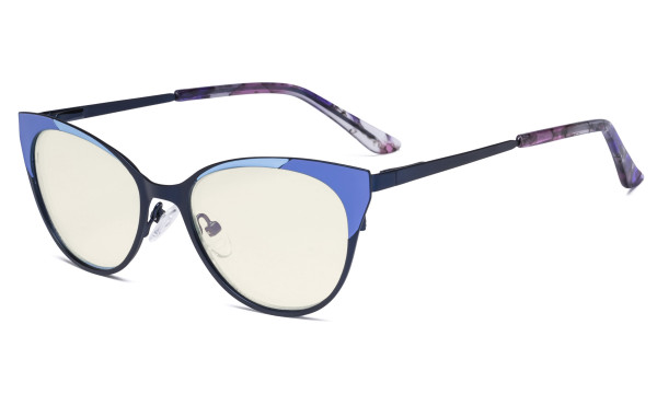Ladies Blue Light Filter Glasses - Butterfly Design Computer Eyegalsses Women Anti Screen UV Rays - Cut Digital Glare Filter Lens Reduce Eye Strain - Blue LX19033