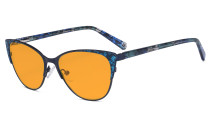 Oversize Ladies Butterfly Design Blue Light Blocking Glasses - Anti Glare UV Rays Computer Screen Eyegalsses Women - Cut Digital Glare Orange Tinted Filter Lens Reduce Eye Strain - Blue LX19044