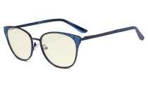 Oversize Butterfly Design Blue Light Filter Glasses - Anti Glare UV Rays Computer Screen Eyegalsses Women - Cut Digital Glare with Filter Lens Reduce Eye Strain - Blue LX19045