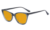 Acetate Frame Oversize Butterfly Design Blue Light Blocking Glasses - Anti Glare UV Rays Computer Screen Eyegalsses Women - Cut Digital Glare with Orange Tinted Filter Lens - Grey BC1902