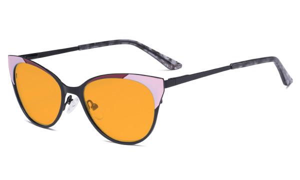 Ladies Blue Light Blocking Glasses - Butterfly Design Computer Eyegalsses Women Anti Screen UV Rays - Cut Digital Glare Orange Tinted Filter Lens Reduce Eye Strain - Black LX19033