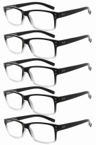 Reading Glasses 5-pack Vintage Classic Frame Readers Women Men Black-Transparent R032-5pcs