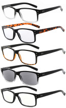 Reading Glasses 5-pack Vintage Classic Design Frame Includes Sunshine Readers R032