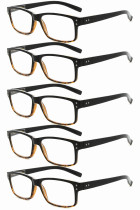 Reading Glasses 5-pack Vintage Classic Frame Readers Women Men Black-Yellow R032-5pcs