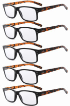 Reading Glasses 5-pack Vintage Classic Frame Readers Women Men Tortoise Arm R032-5pcs