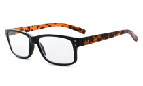 Reading Glasses Quality Spring Hinges with Vintage Classic Frame Readers Tortoise Arm R032