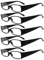 Reading Glasses 5-Pack Classic Design Frame with Quality Spring Hinges Readers Black R040-5pcs