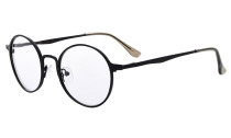 Reading Glasses Quality Spring Hings Retro Round Readers Black R15044
