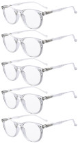 Reading Glasses 5 Pack Quality Spring Hinges Oval Round Readers Transparent R071-5pc