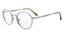 Reading Glasses Quality Spring Hings Retro Round Readers Silver R15044
