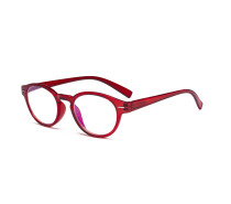 Retro Key Hole Oval Round Readers Spring-Hinges Reading Glasses Red R091