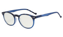 Fashionable Blue Light Filter Glasses Women - Anti Digital Glare Blocking UV Ray Oval Round Computer Eyeglasses Reading Glasses - Blue UVR071F