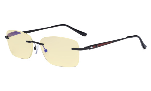 Rimless Blue Light Blocking Glasses Women - Anti Digital Glare UV Ray Computer Eyeglasses Reading Glasses with Yellow Filter Lens - Black TMWK9905A