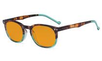 Retro Blue Light Glasses Women Men - Blocking UV Ray Anti Screen Glare Nighttime Computer Eyeglasses Reading Glasses with Orange Tinted Filter Lens - Tortoise/Green DSR065