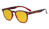 Blue Blocking Glasses with Amber Tinted Filter Lens - Round Computer Eyeglasses Reading Glasses Women - Red HP060D