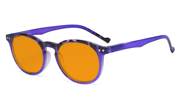 Stylish Blue Light Blocking Glasses Women - Anti Digital Glare UV Ray Oval Round Computer Eyeglasses with Orange Tinted Filter Lens - Purple DS071F