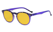 Stylish Blue Light Blocking Glasses Women - Anti Digital Glare UV Ray Oval Round Computer Eyeglasses Reading Glasses with Amber Tinted Filter Lens - Purple HP071F