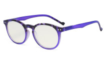 Fashionable Blue Light Filter Glasses Women - Anti Digital Glare Blocking UV Ray Oval Round Computer Eyeglasses Reading Glasses - Purple UVR071F
