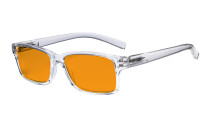 Blue Light Blocking Glasses Men Women - Anti Digital Glare UV Ray Oval Round Computer Eyeglasses Reading Glasses with Orange Tinted Filter Lens - Transparent Frame DSR032