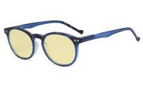 Stylish Blue Light Blocking Glasses Women - Anti Digital Glare UV Ray Oval Round Computer Eyeglasses Reading Glasses with Yellow Filter Lens - Blue TM071F