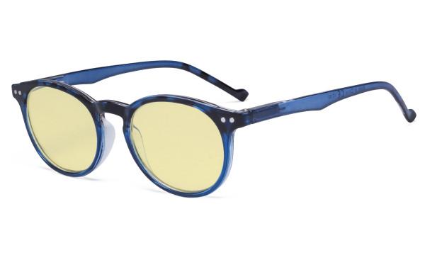 Stylish Blue Light Blocking Glasses Women - Anti Digital Glare UV Ray Oval Round Computer Eyeglasses Reading Glasses with Yellow Filter Lens - Blue TM071F