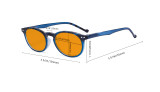 Stylish Blue Light Blocking Glasses Women - Anti Digital Glare UV Ray Oval Round Computer Eyeglasses with Orange Tinted Filter Lens - Red DS071F