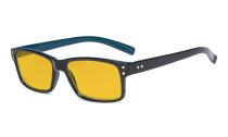 Blue Light Blocking Glasses Men Women - Anti Digital Glare UV Ray Computer Eyeglasses Reading Glasses with Amber Tinted Filter Lens - Black/Blue Arm HP032