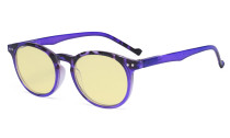 Stylish Blue Light Blocking Glasses Women - Anti Digital Glare UV Ray Oval Round Computer Eyeglasses Reading Glasses with Yellow Filter Lens - Purple TM071F