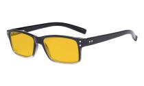 Blue Light Blocking Glasses Men Women - Anti Digital Glare UV Ray Computer Eyeglasses Reading Glasses with Amber Tinted Filter Lens - Black/Clear Frame HP032