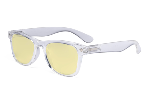 Vintage Blue Light Glasses Women - Blocking UV Ray Anti Screen Glare Computer Eyeglasses with Yellow Filter Lens - Transparent TMS027