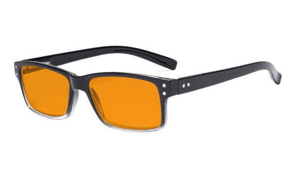 Blue Light Blocking Glasses Men Women - Anti Digital Glare UV Ray Oval Round Computer Eyeglasses Reading Glasses with Orange Tinted Filter Lens - Black/Clear Frame DSR032