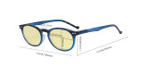 Stylish Blue Light Blocking Glasses Women - Anti Digital Glare UV Ray Oval Round Computer Eyeglasses Reading Glasses with Yellow Filter Lens - Red TM071F