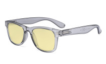Vintage Blue Light Glasses Women - Blocking UV Ray Anti Screen Glare Computer Eyeglasses with Yellow Filter Lens - Grey TMS027