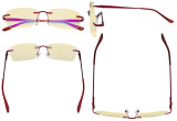 Rimless Blue Light Blocking Glasses Women - Anti Digital Glare UV Ray Computer Eyeglasses Reading Glasses with Yellow Filter Lens - Red TMWK9905A