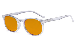 Retro Blue Light Glasses Women Men - Blocking UV Ray Anti Screen Glare Nighttime Computer Eyeglasses Reading Glasses with Orange Tinted Filter Lens - Transparent DSR065