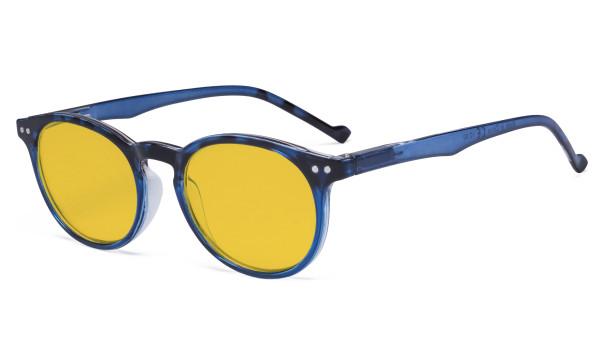 Stylish Blue Light Blocking Glasses Women - Anti Digital Glare UV Ray Oval Round Computer Eyeglasses Reading Glasses with Amber Tinted Filter Lens - Blue HP071F