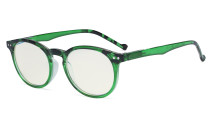 Fashionable Blue Light Filter Glasses Women - Anti Digital Glare Blocking UV Ray Oval Round Computer Eyeglasses Reading Glasses - Green UVR071F