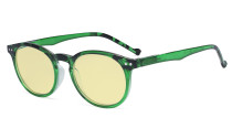 Stylish Blue Light Blocking Glasses Women - Anti Digital Glare UV Ray Oval Round Computer Eyeglasses Reading Glasses with Yellow Filter Lens - Green TM071F