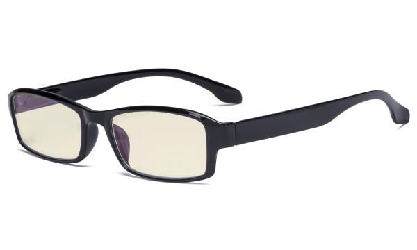 Blaulicht- Filter Brille für Damen und Herren - UV420 Schutz Blendschutz Blue Ray Filter Computer Lesebrille Schwarz UVR9102
