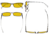 Blaulicht-Schutz Brille Damen mit bernsteinfarbener Filtergläser- Damen-Computerbrille mit Muster Bügel- Grau Rahmen HP1803