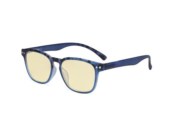 Fashion Blue Light Blocking Glasses - Anti Digital Glare Eyewears with Yellow Filter UV Protection Computer Eyeglasses Reading Glasses Women - Blue/Tortoise TM079