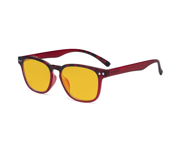 Fashion Blue Light Blocking Glasses - Anti Digital Glare Eyewears with Amber Tinted Filter UV Protection Computer Eyeglasses Reading Glasses Women - Red/Tortoise HP079