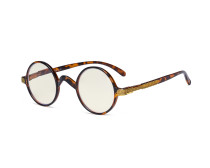 Round Blue Light Filter Glasses Women Men - Blocking UV Ray Anti Screen Glare Computer Eyeglasses Reading Glasses- Brown/Tortoise UVR077BX