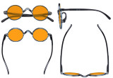 Round Blue Light Blocking Glasses Women Men - Cut UV Ray Anti Screen Glare Nighttime Computer Eyeglasses Reading Glasses with Orange Tinted Filter Lens - Blue/Tortoise DS077BX