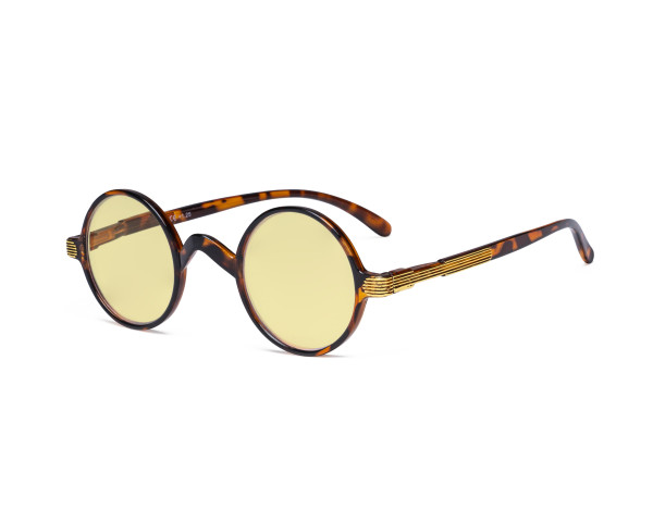 Round Blue Light Blocking Glasses Women Men - Cut UV Ray Anti Screen Glare Computer Eyeglasses Reading Glasses with Yellow Filter Lens - Brown/Tortoise TM077BX