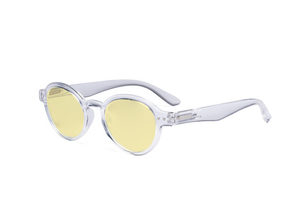 Round Blue Light Blocking Glasses Women Men - Anti UV Ray Cut Digital Screen Glare Oval Computer Eyeglasses Reading Glasses with Yellow Filter Lens - Transparent TM070