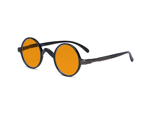 Round Blue Light Blocking Glasses Women Men - Cut UV Ray Anti Screen Glare Nighttime Computer Eyeglasses Reading Glasses with Orange Tinted Filter Lens - Black DS077BX