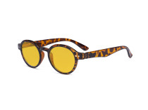 Round Blue Light Blocking Glasses Women Men - Anti UV Ray Cut Digital Screen Glare Oval Computer Eyeglasses Reading Glasses with Amber Tinted Filter Lens - Tortoise HP070
