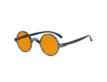 Round Blue Light Blocking Glasses Women Men - Cut UV Ray Anti Screen Glare Nighttime Computer Eyeglasses Reading Glasses with Orange Tinted Filter Lens - Blue/Tortoise DS077BX